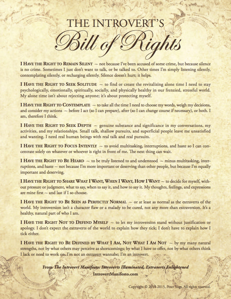 Introvert's Bill of RIghts Poster